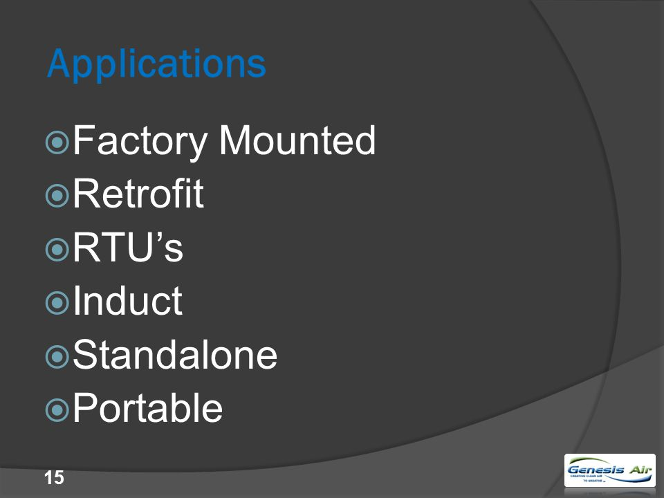 Applications  Factory Mounted  Retrofit  RTU's  Induct  Standalone  Portable 15