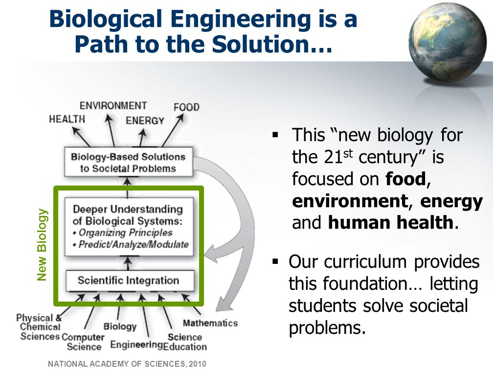 Biological Engineering is a Path to the Solution…  Our curriculum provides this foundation… letting students solve societal problems.