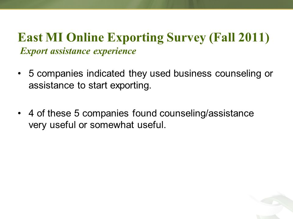 5 companies indicated they used business counseling or assistance to start exporting.