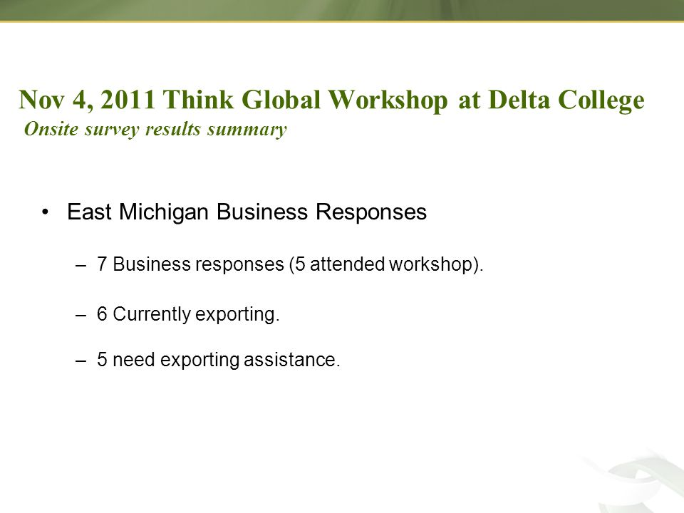 East Michigan Business Responses –7 Business responses (5 attended workshop).