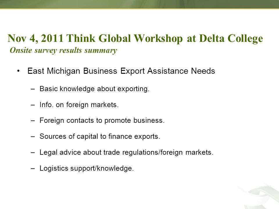 East Michigan Business Export Assistance Needs –Basic knowledge about exporting.