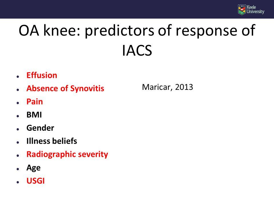 OA knee: predictors of response of IACS l Effusion l Absence of Synovitis l Pain l BMI l Gender l Illness beliefs l Radiographic severity l Age l USGI Maricar, 2013