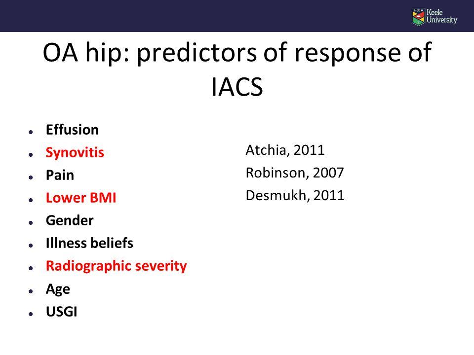OA hip: predictors of response of IACS l Effusion l Synovitis l Pain l Lower BMI l Gender l Illness beliefs l Radiographic severity l Age l USGI Atchia, 2011 Robinson, 2007 Desmukh, 2011