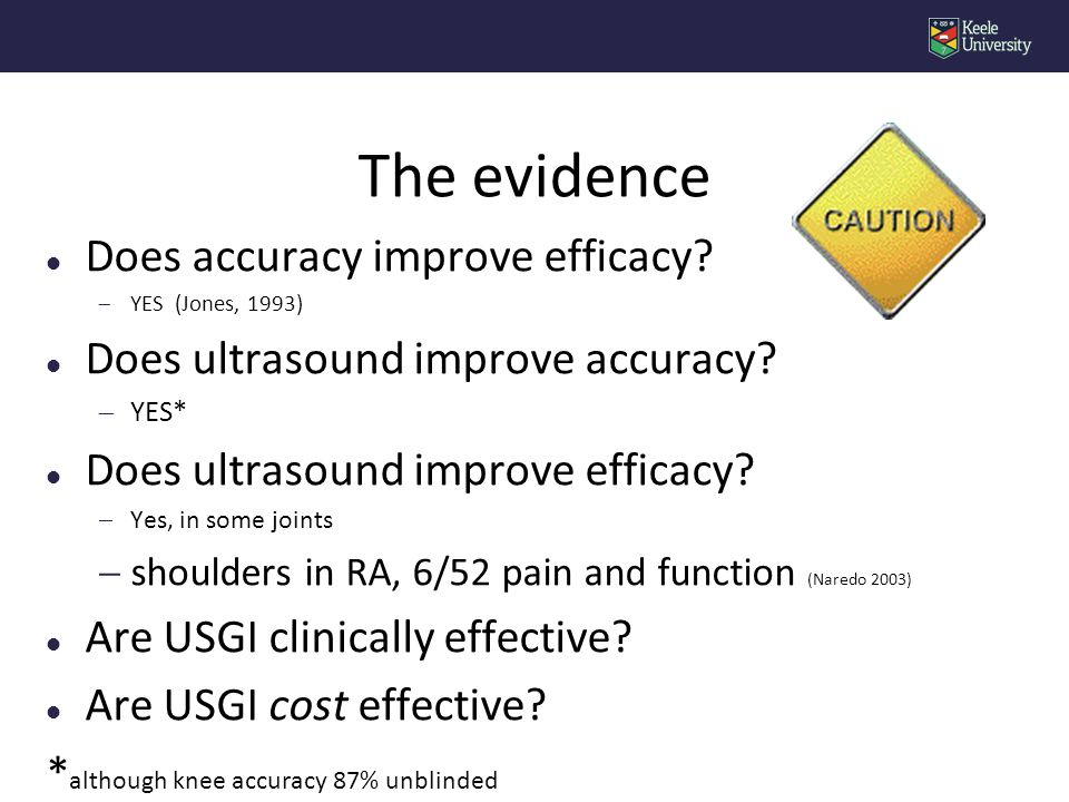 l Does accuracy improve efficacy.  YES (Jones, 1993) l Does ultrasound improve accuracy.