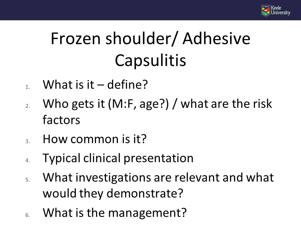 1. What is it – define? 2. Who gets it (M:F, age?) / what are the risk factors 3. How common is it? 4. Typical clinical presentation 5. What investiga