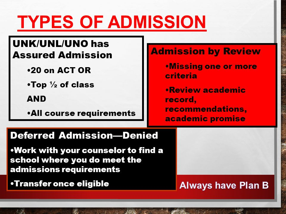 TYPES OF ADMISSION UNK/UNL/UNO has Assured Admission 20 on ACT OR Top ½ of class AND All course requirements Admission by Review Missing one or more criteria Review academic record, recommendations, academic promise Deferred Admission—Denied Work with your counselor to find a school where you do meet the admissions requirements Transfer once eligible