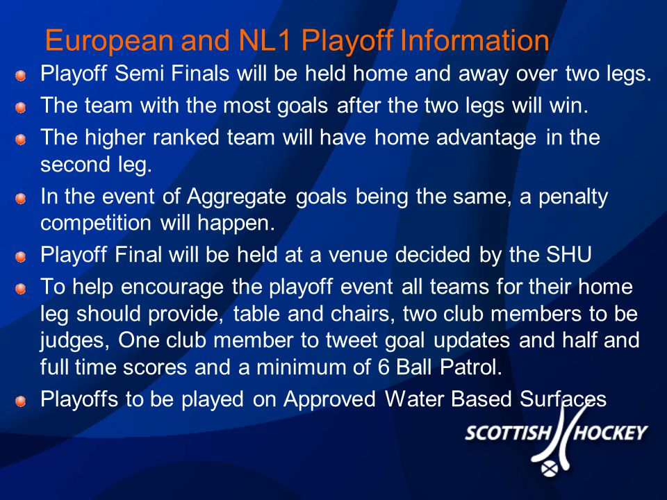 European and NL1 Playoff Information Playoff Semi Finals will be held home and away over two legs.