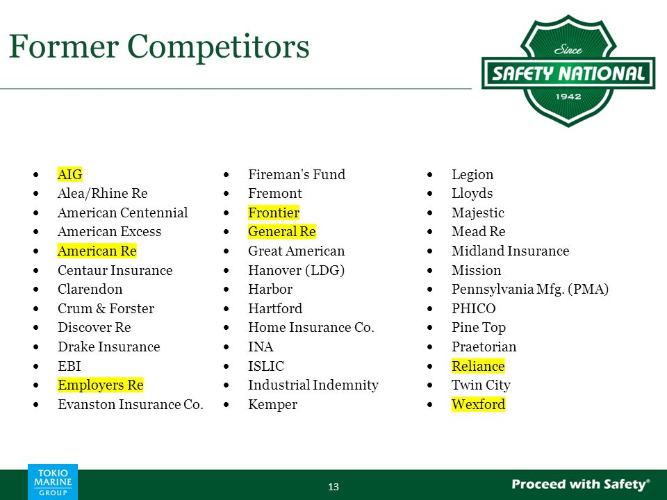 Former Competitors 13  AIG  Fireman s Fund  Legion  Alea/Rhine Re  Fremont  Lloyds  American Centennial  Frontier  Majestic  American Excess  General Re  Mead Re  American Re  Great American  Midland Insurance  Centaur Insurance  Hanover (LDG)  Mission  Clarendon  Harbor  Pennsylvania Mfg.