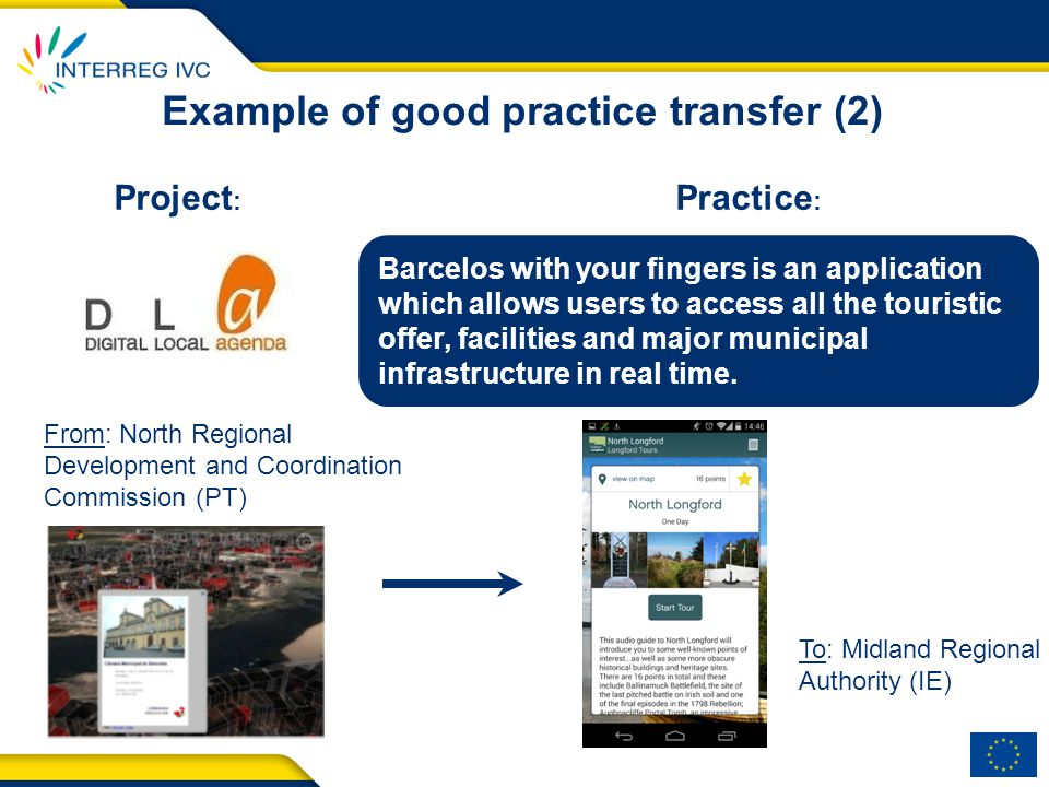 Example of good practice transfer (2) Practice : Project : Barcelos with your fingers is an application which allows users to access all the touristic offer, facilities and major municipal infrastructure in real time.