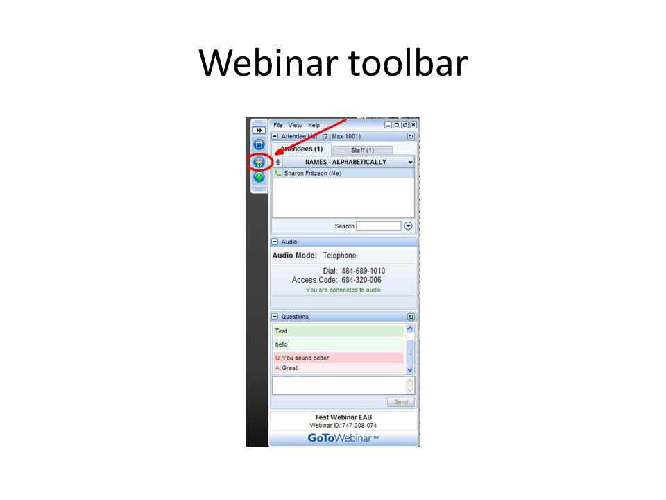 Webinar toolbar