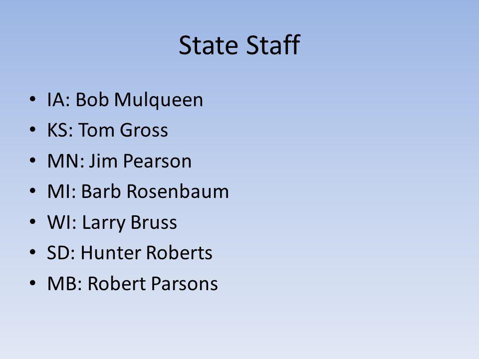 State Staff IA: Bob Mulqueen KS: Tom Gross MN: Jim Pearson MI: Barb Rosenbaum WI: Larry Bruss SD: Hunter Roberts MB: Robert Parsons