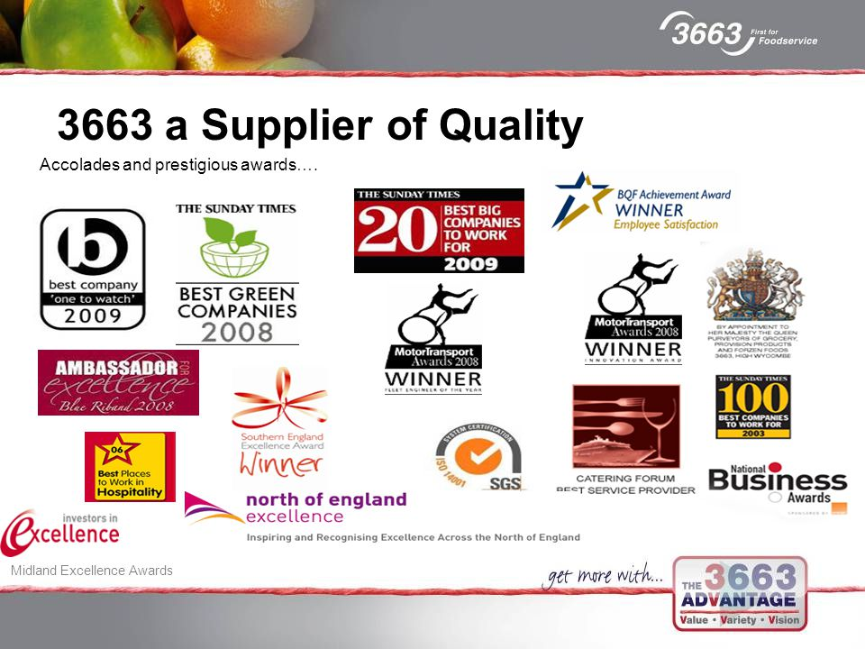 Accolades and prestigious awards…. 3663 a Supplier of Quality Midland Excellence Awards