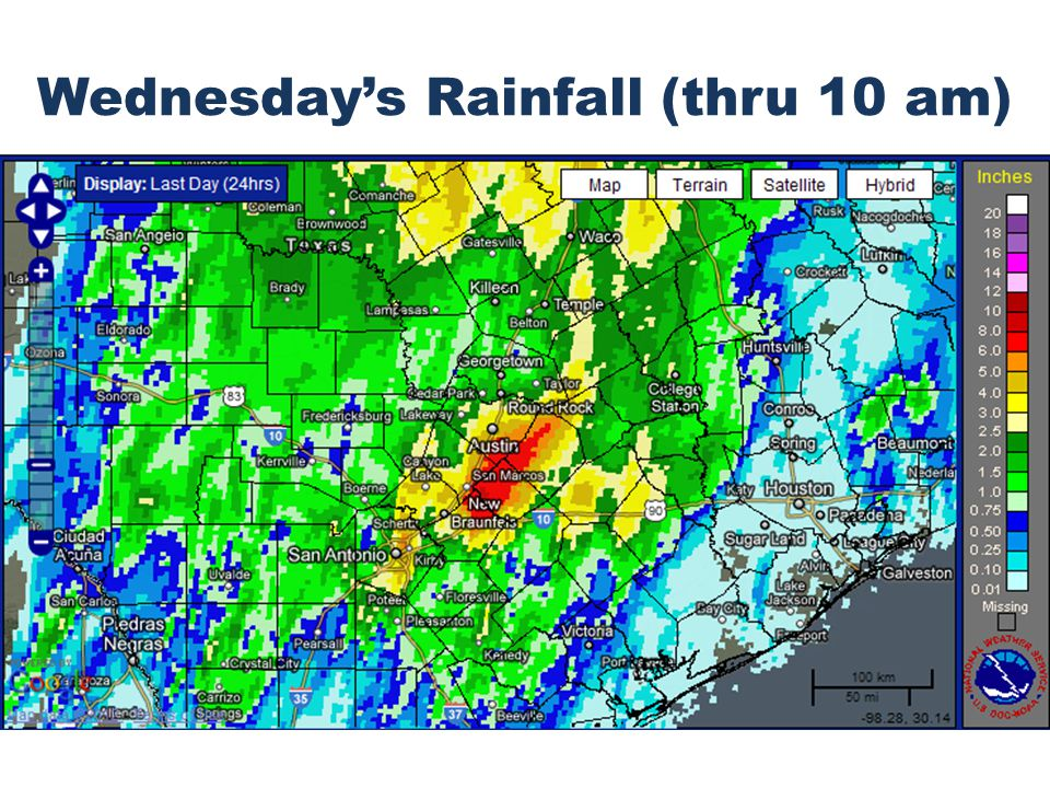 Wednesday's Rainfall (thru 10 am)