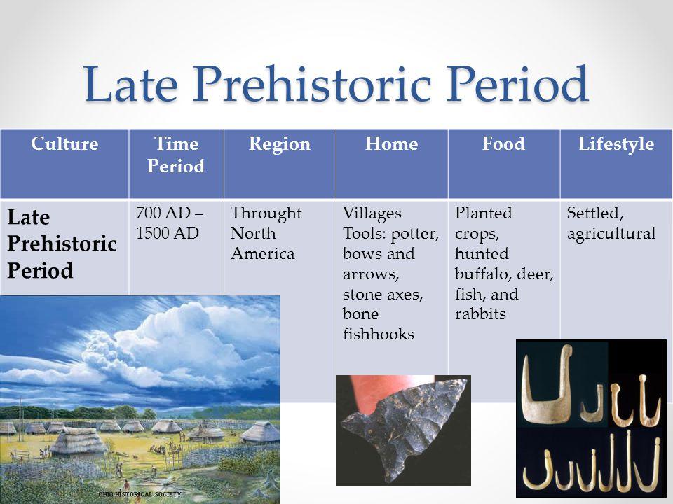 Late Prehistoric Period CultureTime Period RegionHomeFoodLifestyle Late Prehistoric Period 700 AD – 1500 AD Throught North America Villages Tools: pot