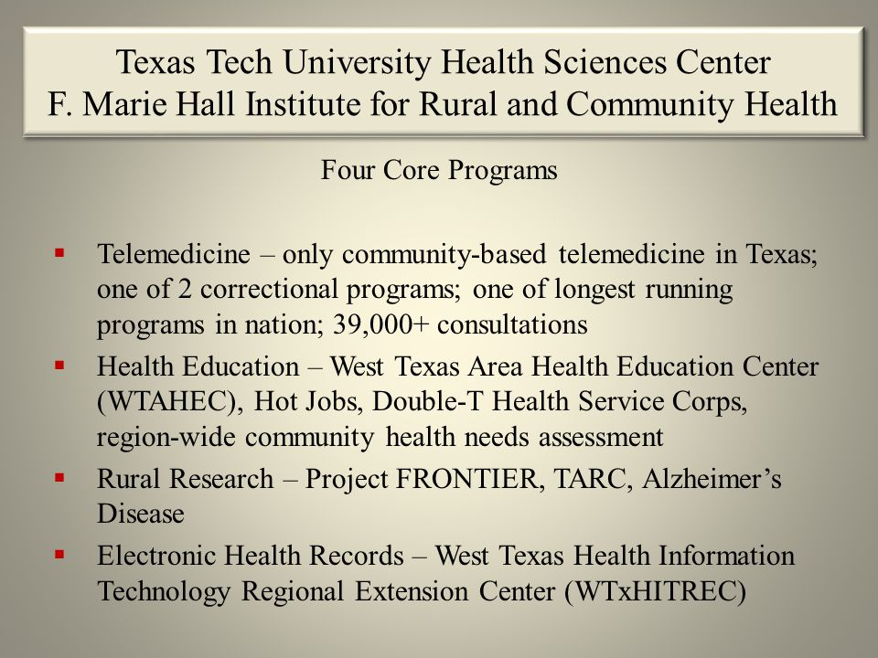 Texas Tech University Health Sciences Center F.