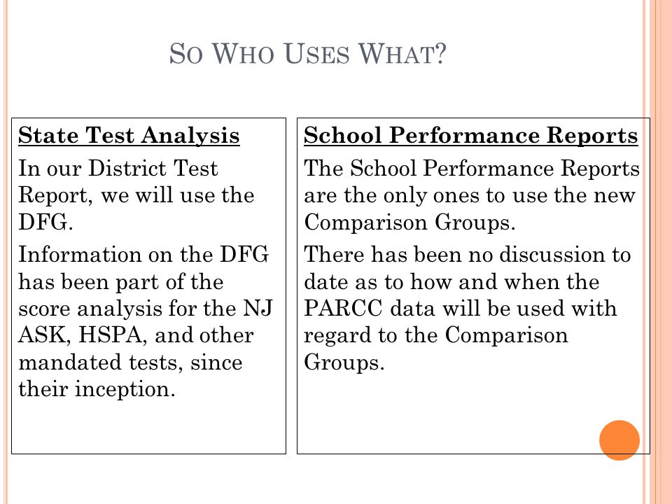 S O W HO U SES W HAT . State Test Analysis In our District Test Report, we will use the DFG.