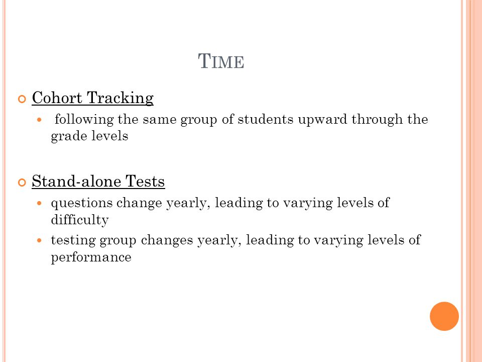 T IME Cohort Tracking following the same group of students upward through the grade levels Stand-alone Tests questions change yearly, leading to varying levels of difficulty testing group changes yearly, leading to varying levels of performance