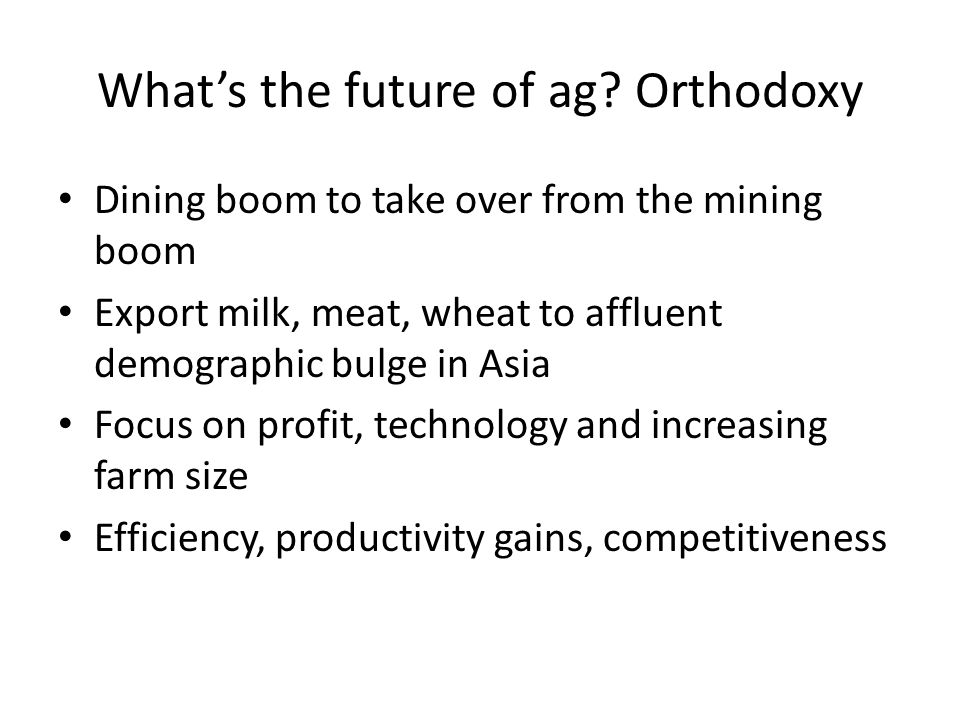 What's the future of ag.