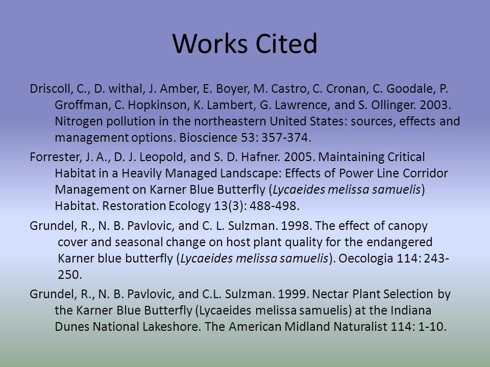 Works Cited Driscoll, C., D. withal, J. Amber, E.