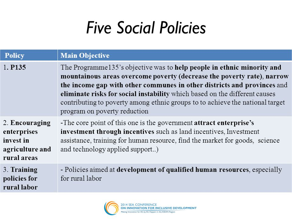 Five Social Policies PolicyMain Objective 1.