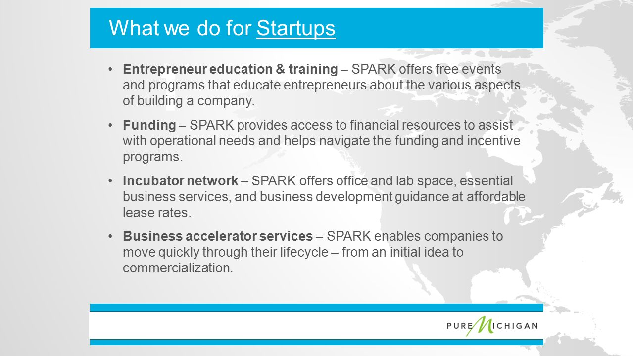 With callout 1 //// What we do for Startups Entrepreneur education & training – SPARK offers free events and programs that educate entrepreneurs about the various aspects of building a company.