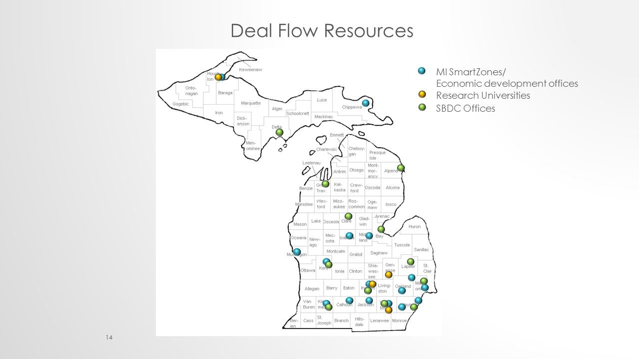 MI SmartZones/ Economic development offices Research Universities SBDC Offices 14 Deal Flow Resources