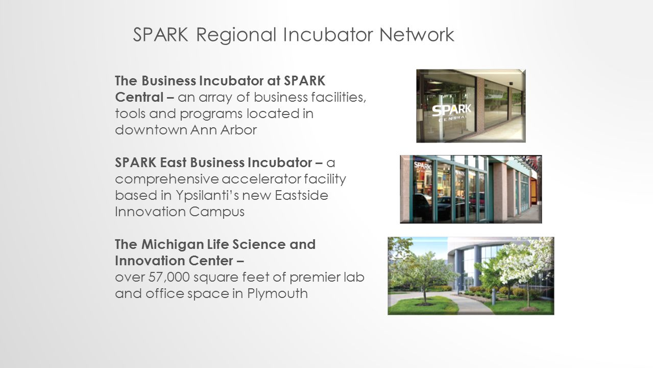 The Business Incubator at SPARK Central – an array of business facilities, tools and programs located in downtown Ann Arbor SPARK East Business Incubator – a comprehensive accelerator facility based in Ypsilanti's new Eastside Innovation Campus The Michigan Life Science and Innovation Center – over 57,000 square feet of premier lab and office space in Plymouth SPARK Regional Incubator Network