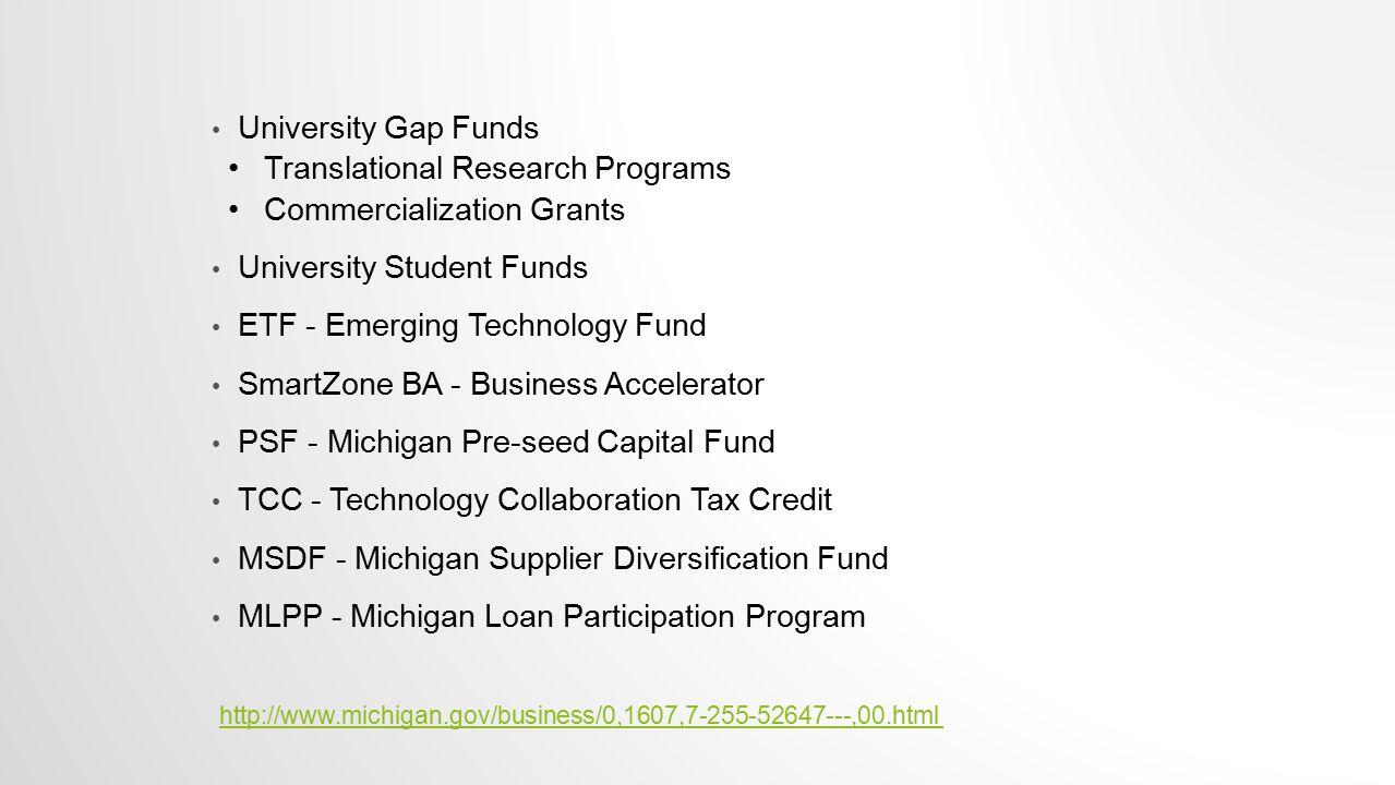 University Gap Funds Translational Research Programs Commercialization Grants University Student Funds ETF - Emerging Technology Fund SmartZone BA - B