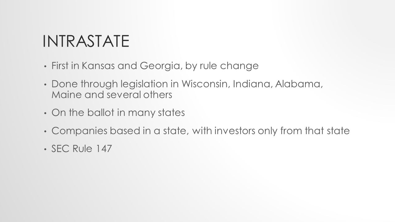 INTRASTATE First in Kansas and Georgia, by rule change Done through legislation in Wisconsin, Indiana, Alabama, Maine and several others On the ballot
