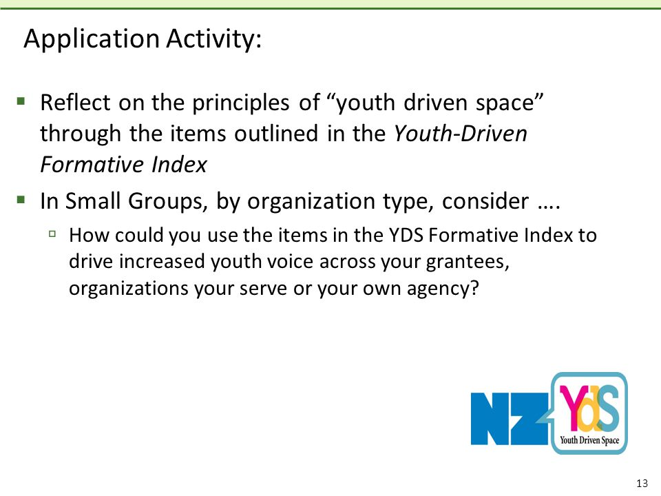 13 Application Activity:  Reflect on the principles of youth driven space through the items outlined in the Youth-Driven Formative Index  In Small Groups, by organization type, consider ….