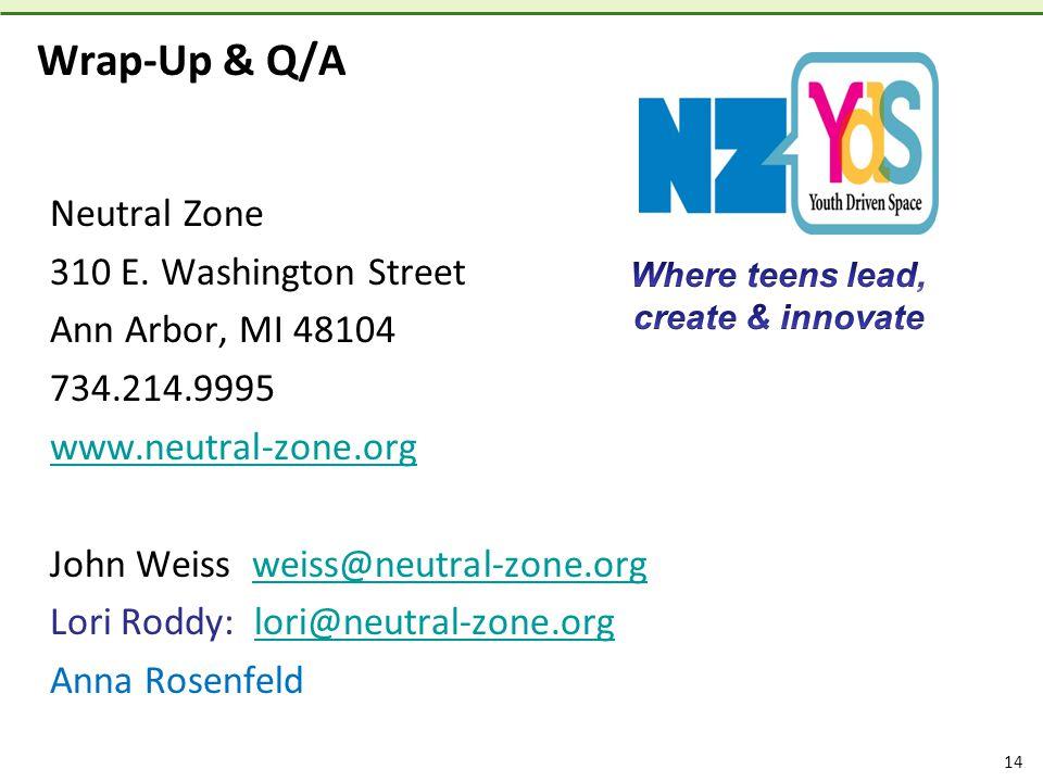 14 Wrap-Up & Q/A Neutral Zone 310 E.