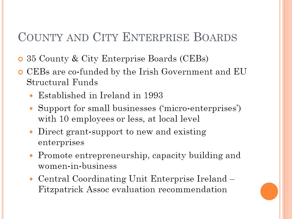 C OUNTY AND C ITY E NTERPRISE B OARDS 35 County & City Enterprise Boards (CEBs) CEBs are co-funded by the Irish Government and EU Structural Funds Established in Ireland in 1993 Support for small businesses ('micro-enterprises') with 10 employees or less, at local level Direct grant-support to new and existing enterprises Promote entrepreneurship, capacity building and women-in-business Central Coordinating Unit Enterprise Ireland – Fitzpatrick Assoc evaluation recommendation