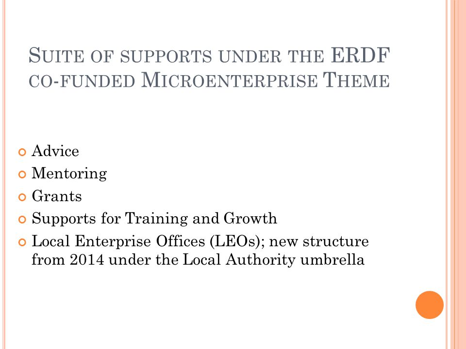 S UITE OF SUPPORTS UNDER THE ERDF CO - FUNDED M ICROENTERPRISE T HEME Advice Mentoring Grants Supports for Training and Growth Local Enterprise Offices (LEOs); new structure from 2014 under the Local Authority umbrella