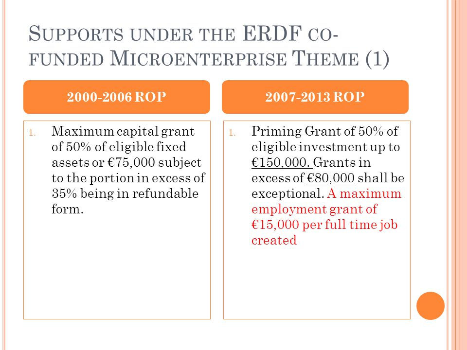 S UPPORTS UNDER THE ERDF CO - FUNDED M ICROENTERPRISE T HEME (1) 1.