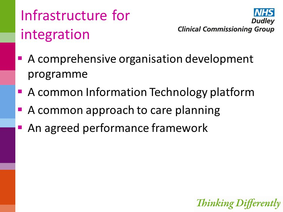 Infrastructure for integration  A comprehensive organisation development programme  A common Information Technology platform  A common approach to care planning  An agreed performance framework