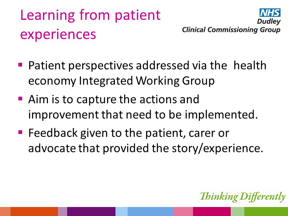  Patient perspectives addressed via the health economy Integrated Working Group  Aim is to capture the actions and improvement that need to be implemented.