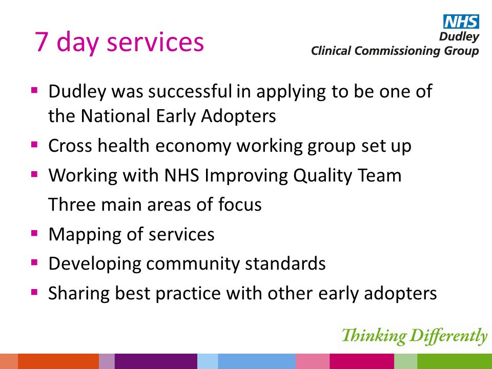  Dudley was successful in applying to be one of the National Early Adopters  Cross health economy working group set up  Working with NHS Improving Quality Team Three main areas of focus  Mapping of services  Developing community standards  Sharing best practice with other early adopters 7 day services