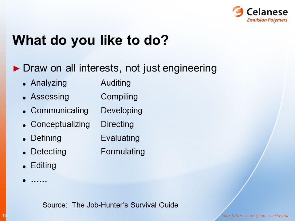 10 What do you like to do? ► Draw on all interests, not just engineering AnalyzingAuditing AssessingCompiling CommunicatingDeveloping ConceptualizingD