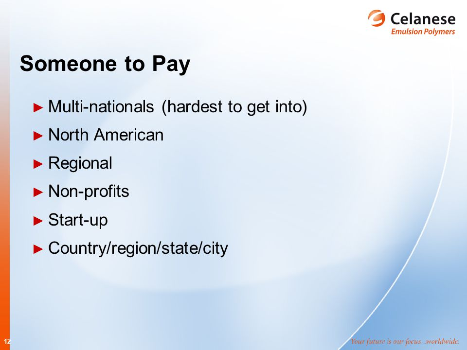 12 Someone to Pay ► Multi-nationals (hardest to get into) ► North American ► Regional ► Non-profits ► Start-up ► Country/region/state/city