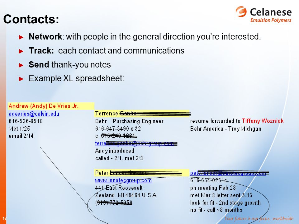 17 Contacts: ► Network: with people in the general direction you're interested. ► Track: each contact and communications ► Send thank-you notes ► Exam