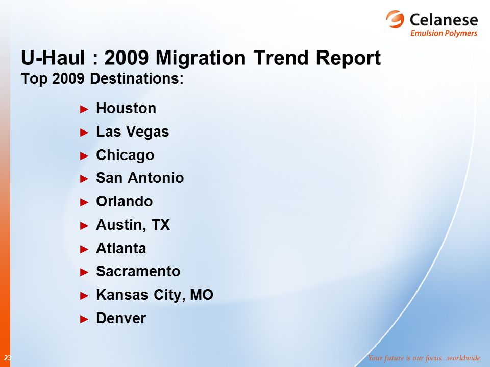 23 U-Haul : 2009 Migration Trend Report Top 2009 Destinations: ► Houston ► Las Vegas ► Chicago ► San Antonio ► Orlando ► Austin, TX ► Atlanta ► Sacram