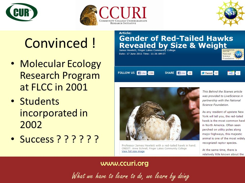 www.ccuri.org What we have to learn to do, we learn by doing Convinced .