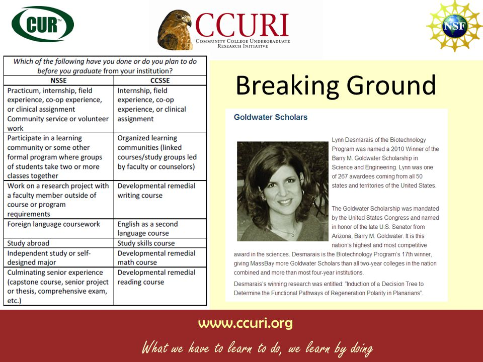 www.ccuri.org What we have to learn to do, we learn by doing PI James Hewle tt Executive Director Mike Tiberio Senior Laboratory Technician Heather Bock Project Director Kelsey Castro, Assistant Project Director Tracy White Case Study/Curriculum Editor Case Writing Team Co-PIs John VanNiel Jackie Crisman Co-PIs Jake Jacob Virginia Balke PARTNERS Anoka Ramsey CC Austin CC Capital CC Central Wyoming College Cochise College Edmonds CC Everett CC Florida Keys CC Gaston College Glendale CC Ivy Tech CC Kapiolani CC Lake Wash Inst.