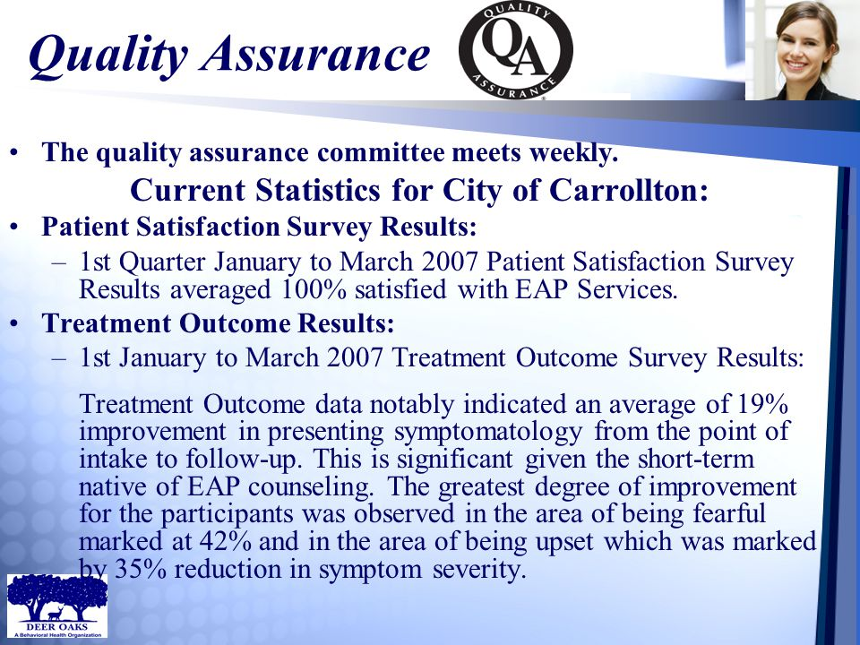 Quality Assurance The quality assurance committee meets weekly. Current Statistics for City of Carrollton: Patient Satisfaction Survey Results: –1st Q
