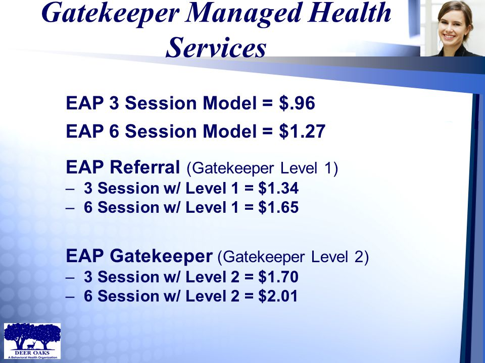 Gatekeeper Managed Health Services EAP Referral (Gatekeeper Level 1) –3 Session w/ Level 1 = $1.34 –6 Session w/ Level 1 = $1.65 EAP Gatekeeper (Gatek