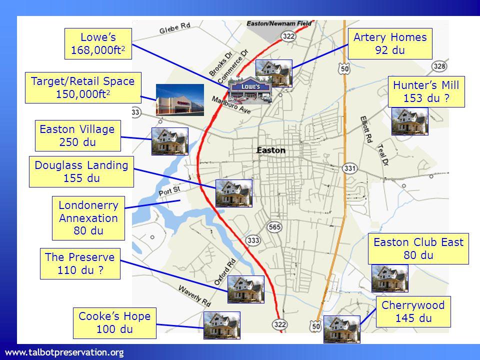 www.talbotpreservation.org Cooke's Hope 100 du Cherrywood 145 du Artery Homes 92 du Easton Village 250 du Douglass Landing 155 du The Preserve 110 du .