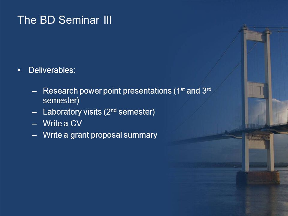 The BD Seminar III Deliverables: –Research power point presentations (1 st and 3 rd semester) –Laboratory visits (2 nd semester) –Write a CV –Write a grant proposal summary