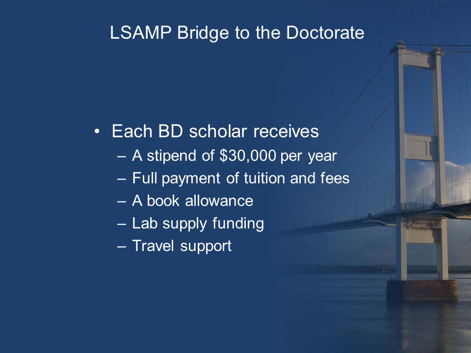 LSAMP Bridge to the Doctorate Each BD scholar receives –A stipend of $30,000 per year –Full payment of tuition and fees –A book allowance –Lab supply funding –Travel support