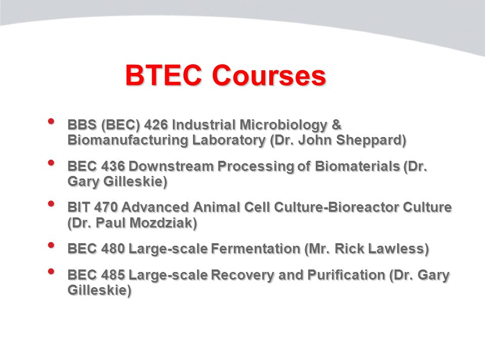 BTEC Courses BBS (BEC) 426 Industrial Microbiology & Biomanufacturing Laboratory (Dr.