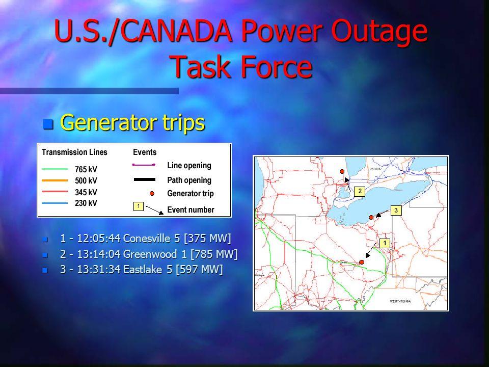 U.S./CANADA Power Outage Task Force n Generator trips n 1 - 12:05:44 Conesville 5 [375 MW] n 2 - 13:14:04 Greenwood 1 [785 MW] n 3 - 13:31:34 Eastlake 5 [597 MW]